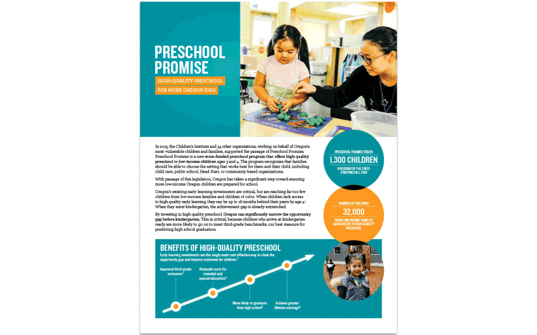 Preschool Promise: High-Quality Preschool for More Oregon Kids