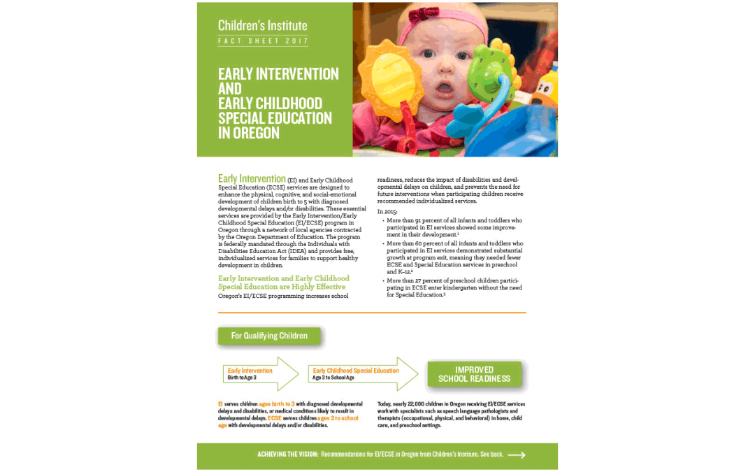 Early Intervention and Early Childhood Special Education in Oregon