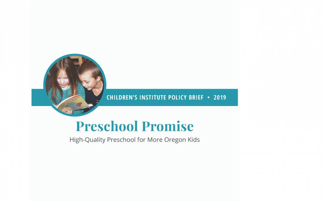 Preschool Promise: 2019 Policy Brief